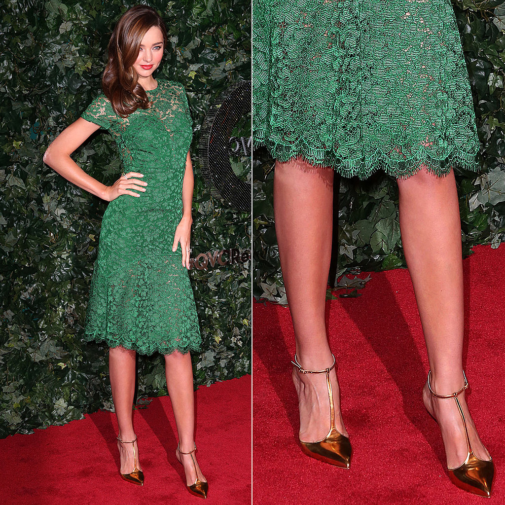 Miranda-Kerr-green-lace-Burberry-dress-complete-gold-metallic-t-strap-sandals-Christian-Louboutin-QVC-red-carpet-style-event-Beverly-Hills