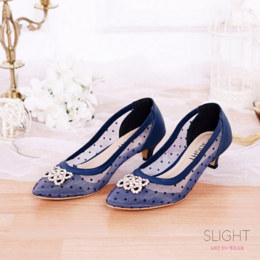 Sepatu Pointed Sallie Biru Dongker