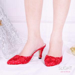 Sandal Selop Brukat Merah