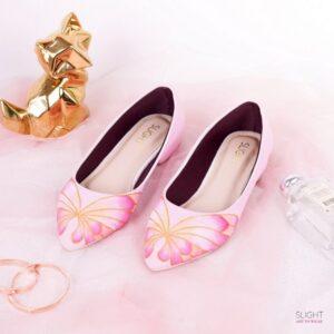 Sepatu Flats Lukis Butterfly Pink