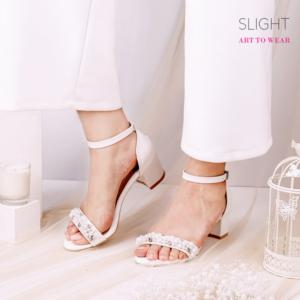 Sandal Ankle Strap Pearl Putih